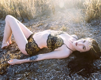 Limited Edition Dreamy Black and Gold Sheer Lace Lingerie Set - by Aniela Parys Designs