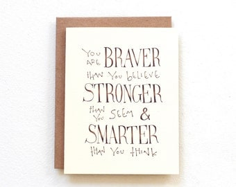 Winnie the Pooh quote card - You are braver than you believe stronger than you seem, thinking of you card, handmade card, graduation card