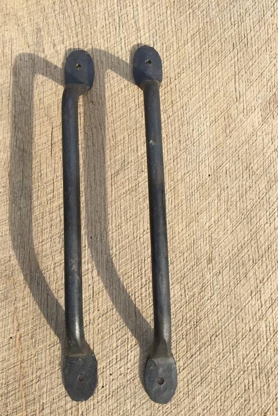 12  Hand Wrought Round Iron Barn Door Pulls Pair of two 12  Barn Door Handles Interior Sliding Barn Door Handles Blacksmith Made from GraysburgForge on ... & 12