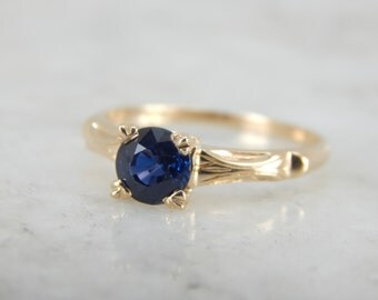 Midnight Blue Sapphire Solitaire in Vintage Mounting KPVE2P-D