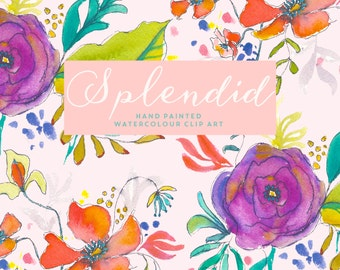 Flower Watercolour Clipart, Hand Painted Graphics - Splendid