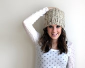 Knit Slouchy Hat Textured Oatmeal- Towson Hat