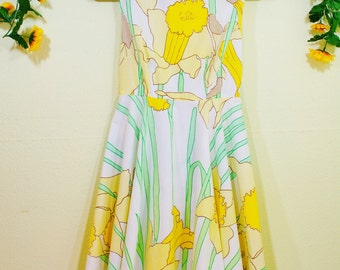 Daffodil Pale Yellow Summer Dress Vintage Handmade S