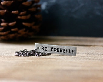 Words Of Encouragement Pewter Tag Necklace - Men's Necklace - Women's Necklace - Personalized Necklace by Modern Out