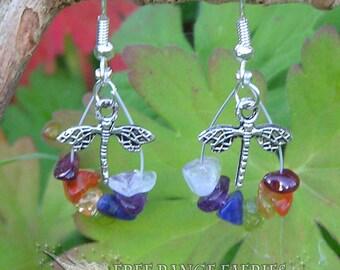 Dragonfly Chakra Gemstone Earrings