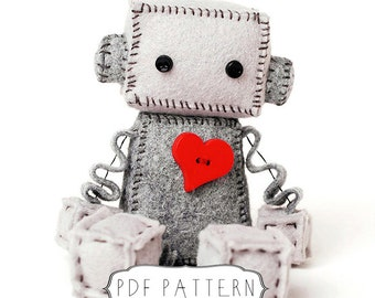 Felt Robot Plush Pattern PDF - Instant Download - DIY