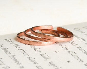 Adjustable Custom Stacking Copper Rings, Stackable Ring, Set of Three