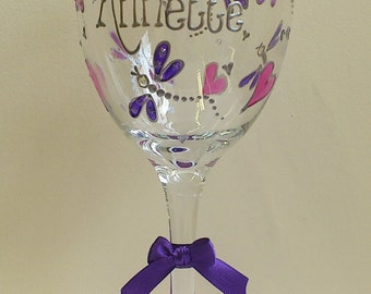 Personalised Dragonfly Wine glass Hand Painted by Luci Lu Designs