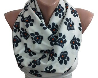 Dog Paw Scarf I Love My Dog Print Scarf Infinity Scarf Fall Winter Fashion Women Fashion Accessories Christmas Gift For Her For Pet Lovers