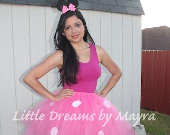 Adult minnie mouse inspired tutu skirt and ears headband, Adult minnie mouse costume inspired, Adult pink tutu, Teenager tutu skirt