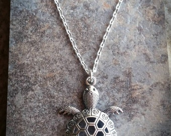 Large Turtle Islander Necklace - Silver tone charm