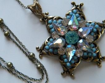 Vintage Czech Blue Aurora Borealis Star Button Pendant Necklace Up Cycled Czech Glass Rhinestone Button Pendant