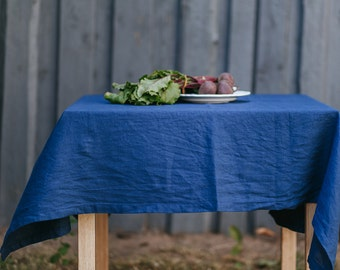 FREE SHIPPING | Navy Blue Tablecloth, Natural Linen Tablecloth, Linen  Tablecloth, Linen Table