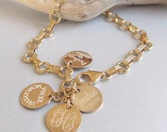 Gold Personalized Name Bracelet, Gold Link Bracelet, Mothers Bracelet, Charm Bracelet, Classic Jewelry, Family Bracelet, Mommy Jewelry, Gift