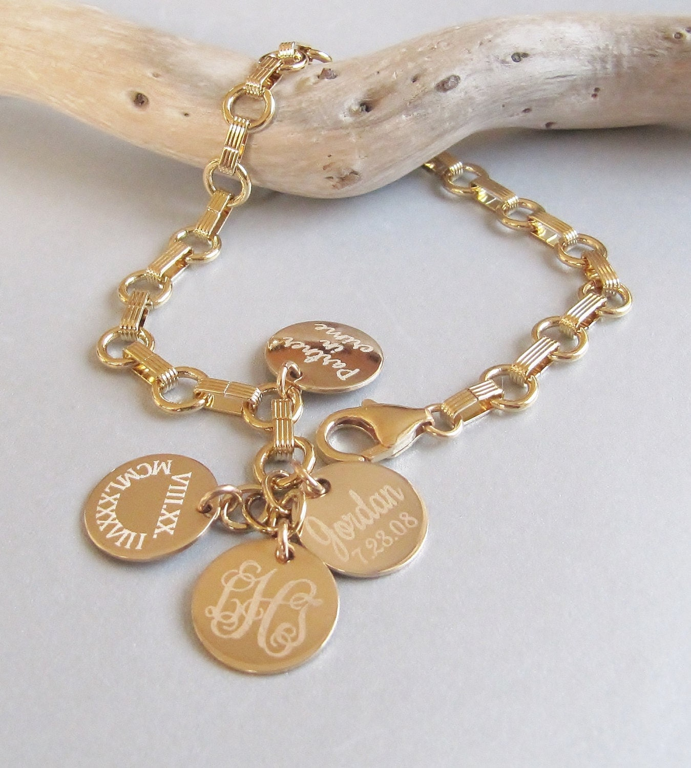 gold personalized name bracelet gold link bracelet mothers