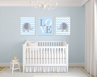 Elephant Nursery Art Print. Blue and Gray Love. Blue Nursery Art. 4 Sizes Available - Colors Customizable H170 - Unframed
