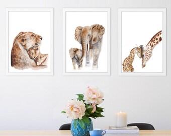 African Animals Print Set, Baby Nursery Decor, Animal Wall Art, Mom and Baby Animals, Lion, Elephant, Giraffe, Home Decor, Animal Prints