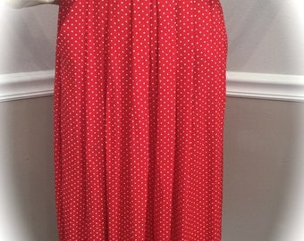 Leslie Fay RED and White POLKADOT skirt size 6