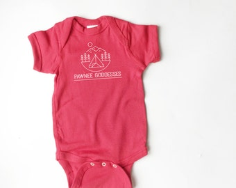 Parks and Recreation inspired onesie. Pawnee Goddess bodysuit. Funny kid clothing.
