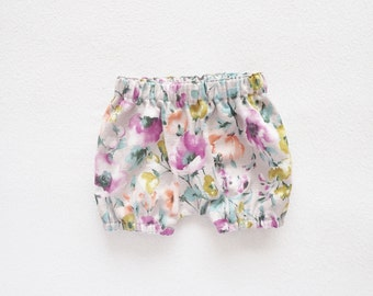 Watercolor Baby Bloomers, Floral Bloomers, Toddler Girls Bloomers, Bubble Shorts, Newborn - 3T, Pink Beige