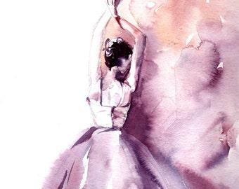 Ballerina Original Watercolor Painting, Modern Ballet Watercolour Art, Ballet Painting