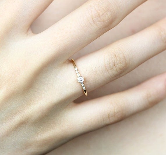 14k Solid Yellow Gold Diamond Engagement Ring by KHIMJEWELRY