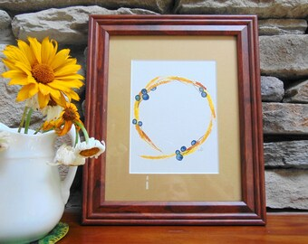 Dried Wheat and Berry Summer Wreath Watercolor Painting, Original