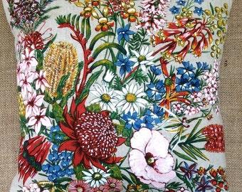 Vintage Linen Native Australian Flowers Cushion 40cm x 40cm With Interior