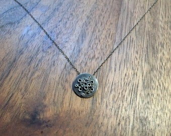 Small Blackened Sterling Silver Pendant Necklace with Tubes on Disc on Sterling Silver Chain