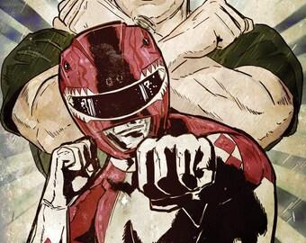 Red Power Ranger original art print signed by artist Michael Champion