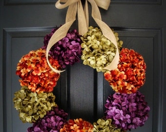 Hydrangea Wreath | Front Door Wreaths | Wreaths | Summer Wreath | Fall Wreath | Outdoor Wreaths | Housewarming Gift