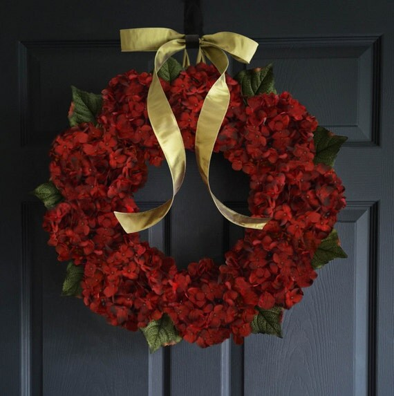 Etsy Red Hydrangea Wreath Burgundy Hydrangeas Front