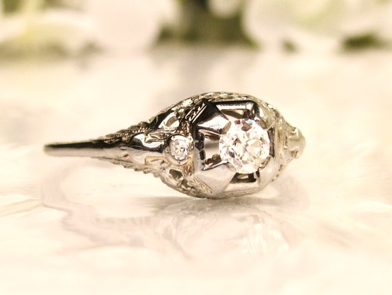 Antique Style Engagement Ring Old European by LadyRoseVintageJewel