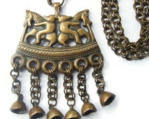 Vintage bronze Kalevala Koru Finnish pendant necklace, two riders, horse bear, Viking traditional Nordic mythology, Kokemäki Finland. #467