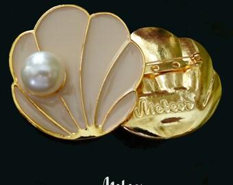 Shell Brooch, Enamel, The Tahitian, Pink Vintage Inspired Brooch