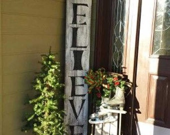 "Christmas ""Believe"" Sign on Distressed Recycled Pallet Board"