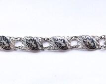 Vintage Sterling Silver Bracelet | Enamel Siam Niello Bracelet | Panel Bracelet