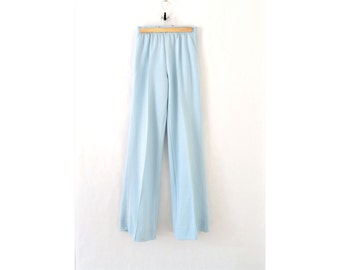 90s baby blue pants flared pants 70s style
