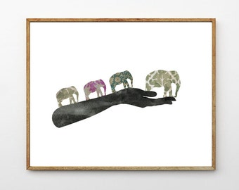 Journey - Elephant Nursery Art, Elephant Art Print, Nursery Decor Elephant, Animal Print, Surreal Art