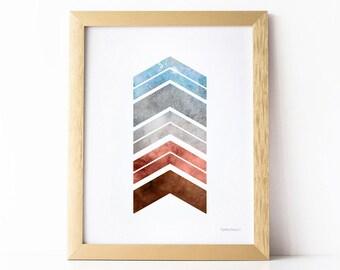 Blue and brown chevron print, Home office decor, Modern wall artwork, Modern Apartment decor Printable Geometric artwork Chevron arrow print