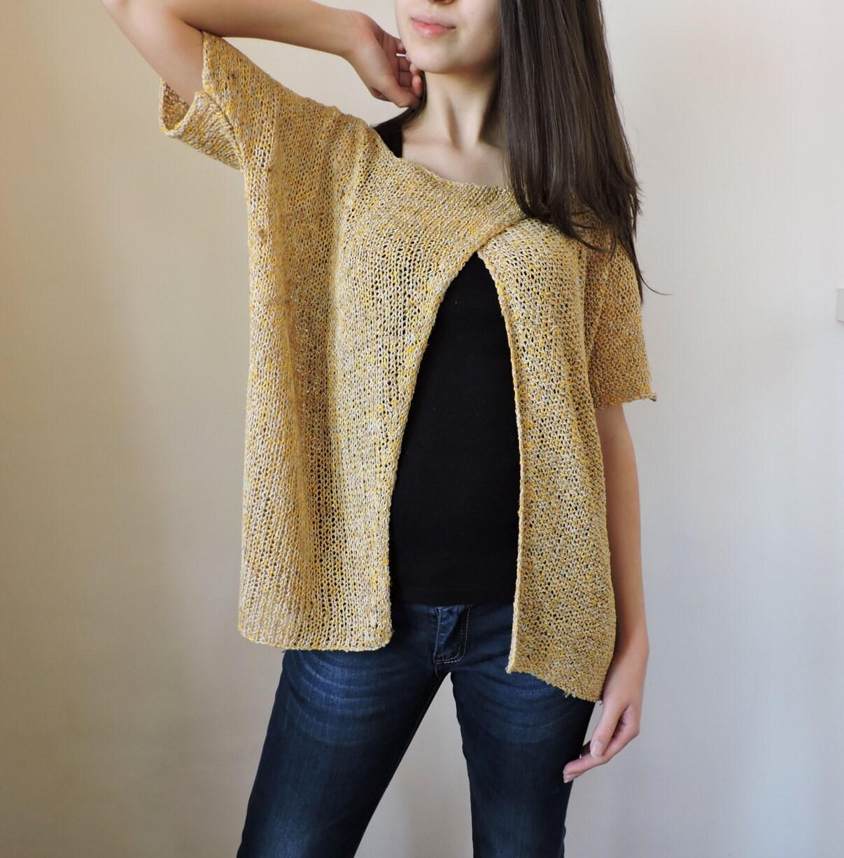 Knitting Summer Blouses : Knit summer shirt cotton tank short sleeve blouse open