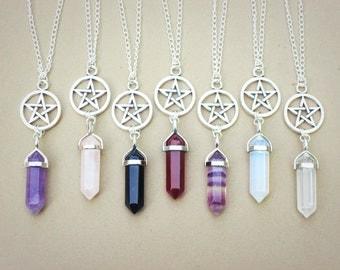 Crystal Point Necklace // Pentagram Necklace // Gemstone Necklace // Rose Quartz Fluorite Opalite Amethyst Agate // 90s Grunge Pastel Goth
