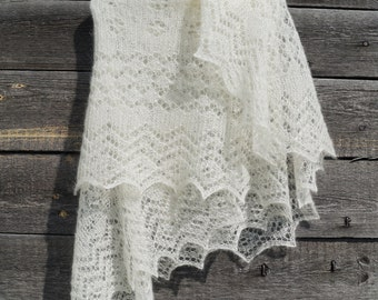 Lace hand knitted rectangular shawl in Orenburg style, luxury kidsilk bridal stole