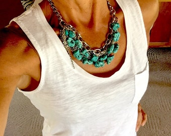 SUPER STARR - Martini Inspired Statement Necklace - Multi-layered silver tone metal chains and turquoise magnesite