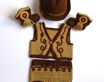 Baby Boy, Crochet, Tan Cowboy Vest, Tan and Brown Diaper Cover, Brown Cowboy Hat, and Brown Cowboy Boots, 0-3 Months SPECIAL ORDER ONLY