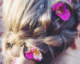 Ombre Orchids- Flower Braid Hair Extension