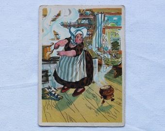 "Illustrator Goltz Vintage Soviet Postcard ""Pot"" Danish fairy tale - 1965. Sovetskiy hudozhnik. Cooky"