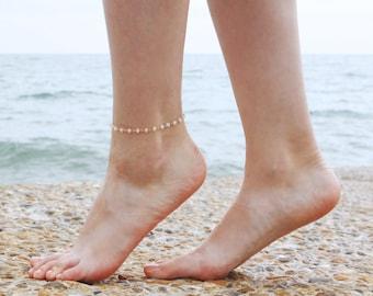 Moonstone Beaded Anklet - Boho Moonstone Anklet - Faceted Moonstone Beaded Chain Anklet - Dainty Gemstone Beaded Anklet - June birthstone