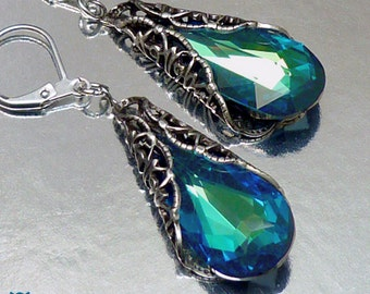 Gifts for Her, Bermuda Blue Swarovski Earrings, Blue Swarovski Earrings, Peacock Earrings