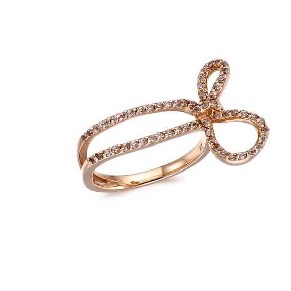 14k solid gold ribbon ring 14k solid gold bow by goldengesture